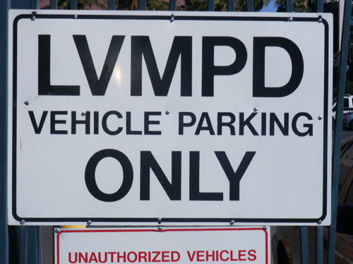 LVMPD Vehicle Parking Only Sign